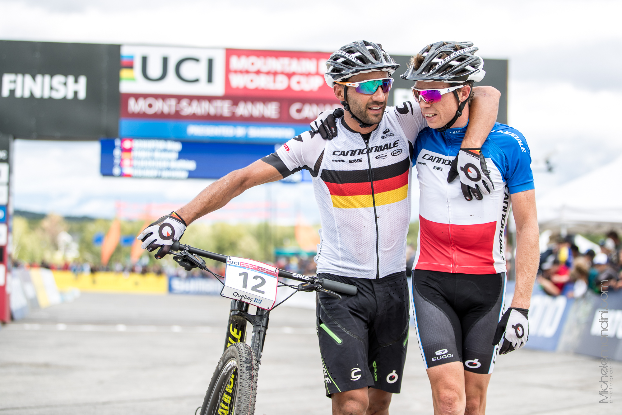 Manuel Fumic and Maxime Marotte celebrate in Mont Sainte Anne World Cup - ph: Michele Mondini