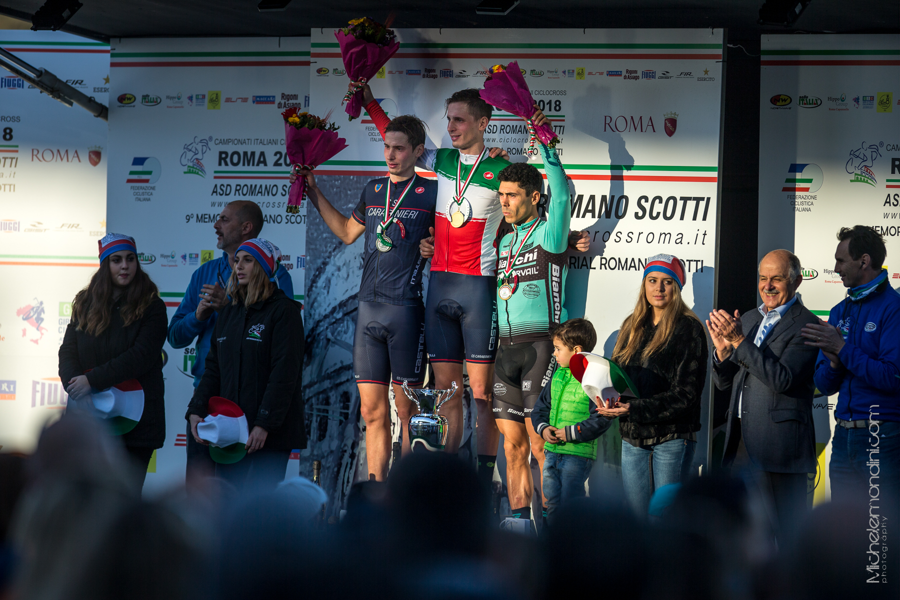 Cx Italian Championship podium. Braidot twins took the first and the second step of the podium, followed by Marco Aurelio Fontana - Ph: Michele Mondini